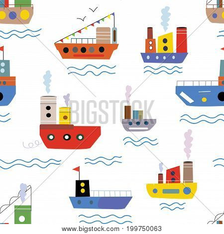 Sea seamless pattern with boats and ships for kids vector graphic illustration