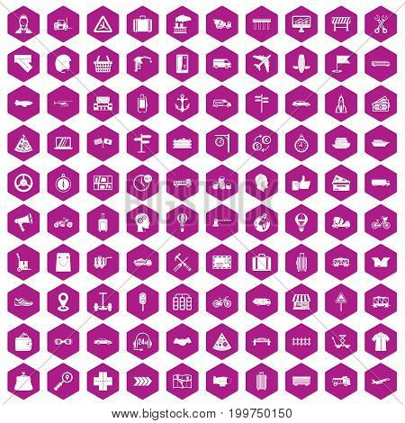 100 delivery icons set in violet hexagon isolated vector illustration