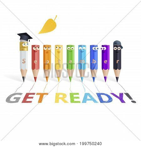 Rainbow set of humanized pencils. Realistic 3d wooden characters, carbon teacher and his colored students, who made a shaded inscription Get Ready! Funny educational illustration. White background.