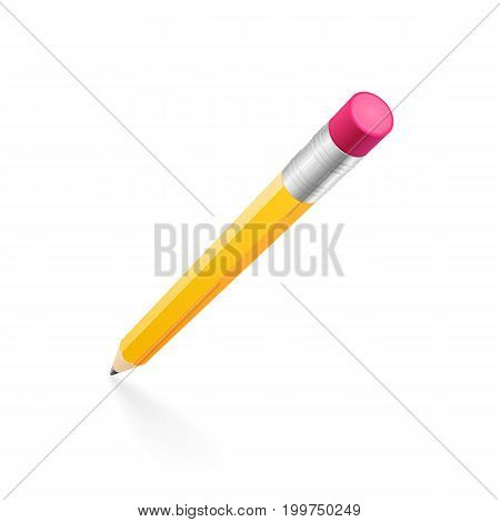 Yellow hexagonal wooden graphite pencil with an eraser isolated on a white background. The vector imitation of 3D object represented in a first person point of view and casts a soft-edged pale shadow.