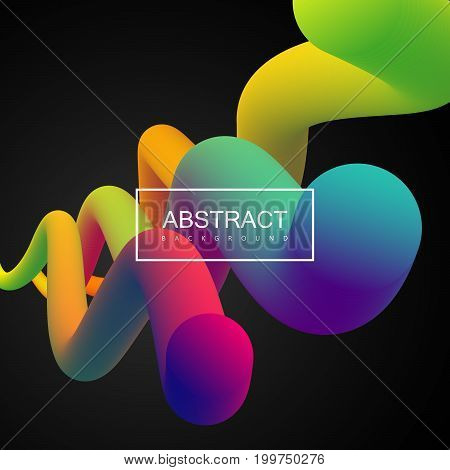 Abstract 3d colorful composition with smooth gradient shapes. Vector artistic illustration. Vibrant gradient flowing stream. Liquid color paths. Creativity concept. Visual communication poster design