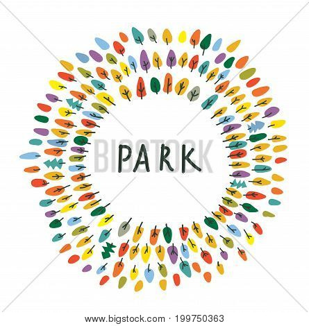 Park emblem with trees for card or logo vector graphic
