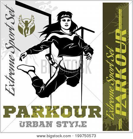 Girl parkour is jumping - illustration and emblem - set of vector images on white