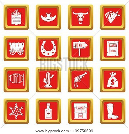 Wild west set design logo. Simple illustration of 16 wild west logo vector icons set in red color isolated vector illustration for web and any design