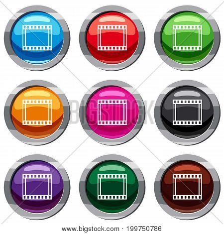 Film with frames movie set icon isolated on white. 9 icon collection vector illustration