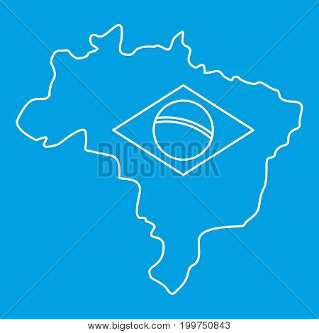 Map of Brasil icon blue outline style isolated vector illustration. Thin line sign