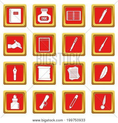 Writing icons set in red color isolated vector illustration for web and any design