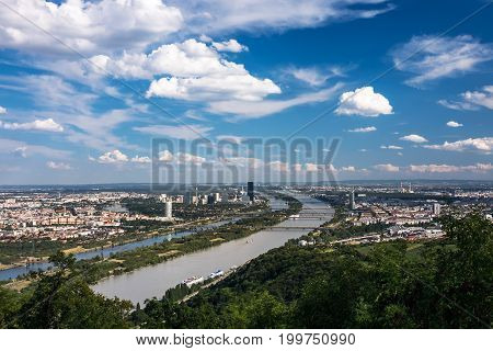 Vienna Cityscape high angle view of town with danube river