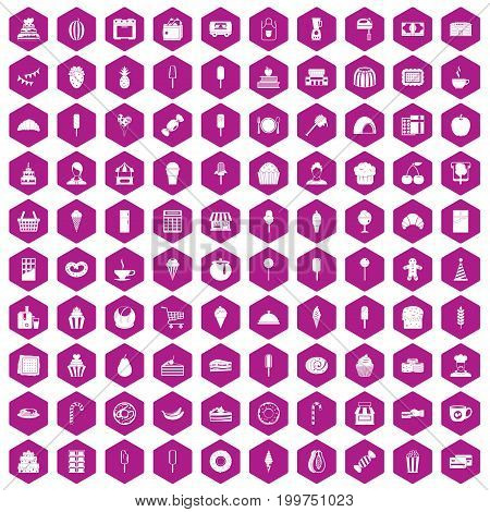 100 dessert icons set in violet hexagon isolated vector illustration