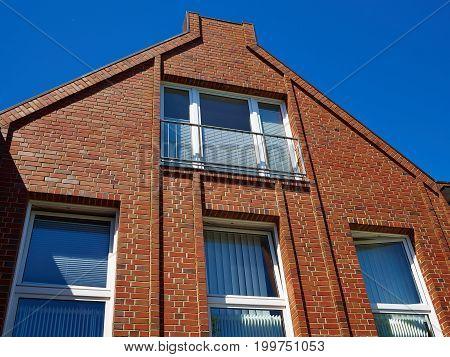Modern design condominium apartment home made from red bricks