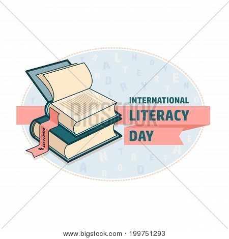Vector illustration of International Literacy Day card. Book and ribbon.