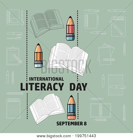 Vector illustration of International Literacy Day card. Book and pencil.