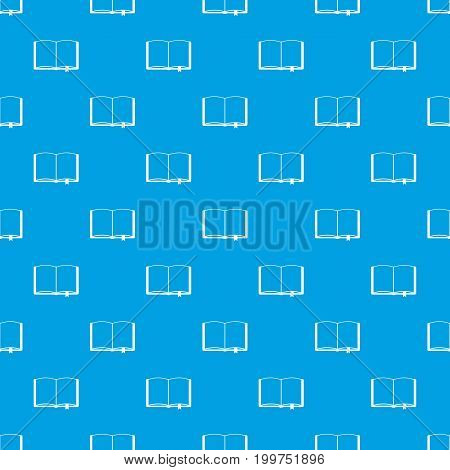 Open book with bookmark pattern repeat seamless in blue color for any design. Vector geometric illustration
