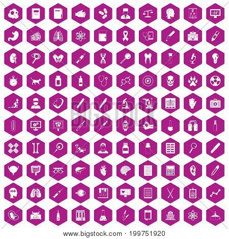 100 diagnostic icons set in violet hexagon isolated vector illustration