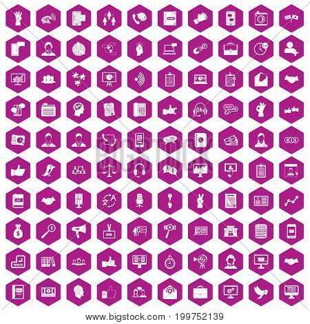 100 dialog icons set in violet hexagon isolated vector illustration