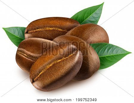 Heap of shiny fresh roasted coffee beans with leaves isolated on a white background. Design element for product label, catalog print, web use.
