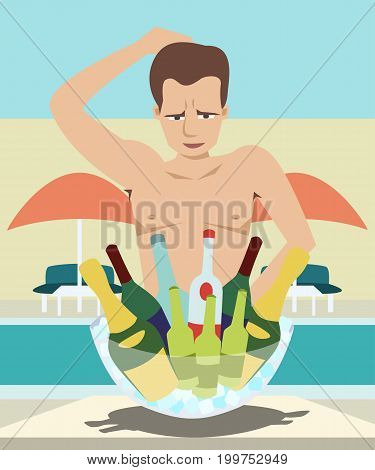 man chooses drinks at pool party - funny vector cartoon illustration