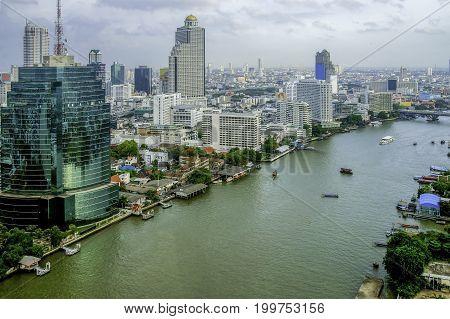 Aerial view of beautiful Bangkok city with Chao Phraya river