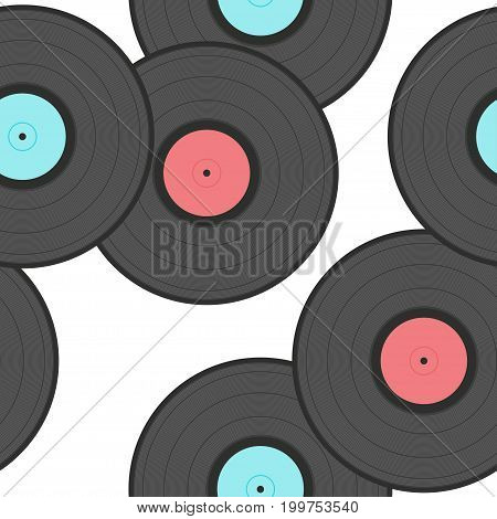 Old Records Isolated On White Seamless Pattern Background