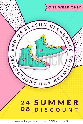 Summer sale flyer template. Vector banner for seasonal clearance or discounts. Trendy geometric style with colorful background and gumshoes.