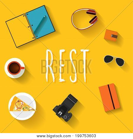 Rest. Flat Style Card Template With Handwritten Lettering.
