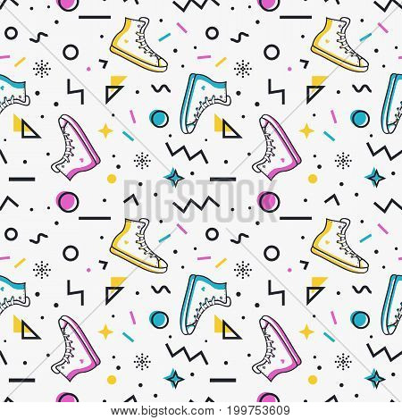 Stylish seamless pattern with sneakers and abstract geometric shapes in memphis style. Trendy vector background in white blue pink yellow and black colors.