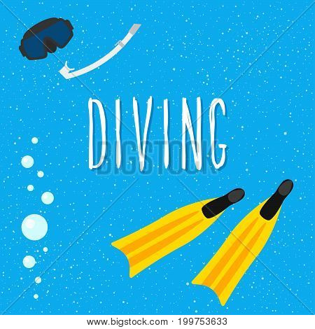 Diving. Vacation And Sea Rest Theme Card Template.