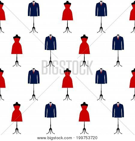 Red dress and blue suit isolated on white seamless pattern background. Abstract flat style illustration for party card fashionable lunch invitation menu wallpepar textile fabric t shirt etc.