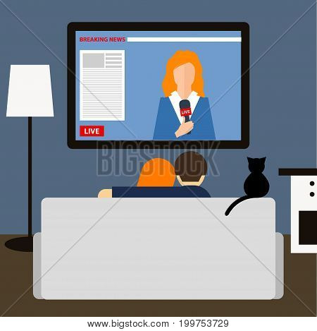 Couple And Cat Watching News On Television.