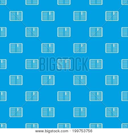 Open tutorial with bookmark pattern repeat seamless in blue color for any design. Vector geometric illustration