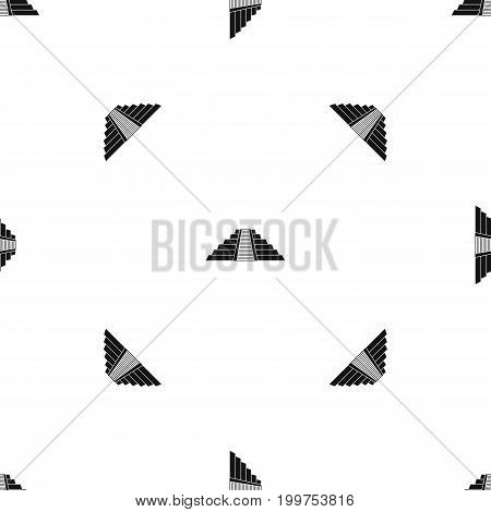 Ziggurat in Chichen Itza, Yucatan pattern repeat seamless in black color for any design. Vector geometric illustration