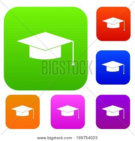 Graduation cap set icon in different colors isolated vector illustration. Premium collection