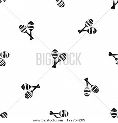 Maracas pattern repeat seamless in black color for any design. Vector geometric illustration