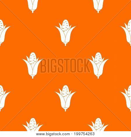 Corncob pattern repeat seamless in orange color for any design. Vector geometric illustration