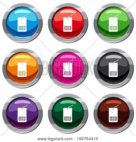 Tag with bar code set icon isolated on white. 9 icon collection vector illustration
