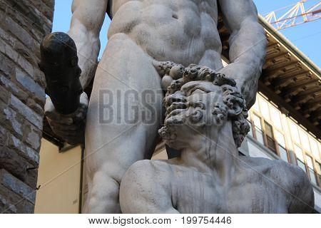 Details on Statue of Hercules and Caco of Baccio Bandinelli, Piazza della Signoria in Florence, Italy