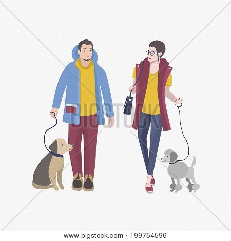 Young guy and girl walking with dogs, Colorful flat vector illustration