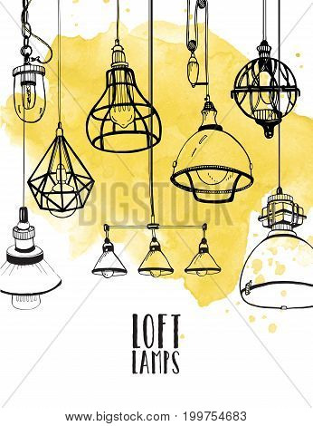 flyer with modern edison loft lamps, vintage, retro style light bulbs. Hand drawn vector background.