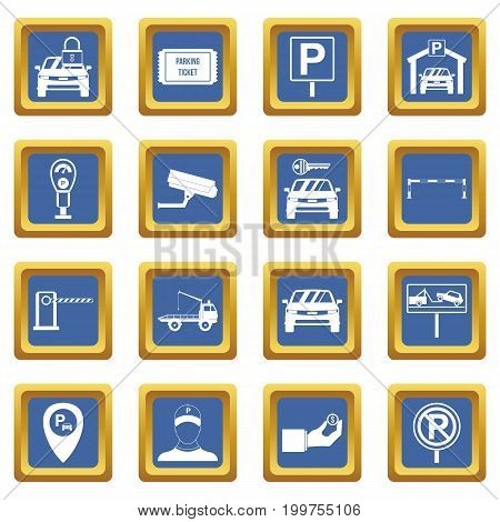 Parking set icons set in blue color isolated vector illustration for web and any design