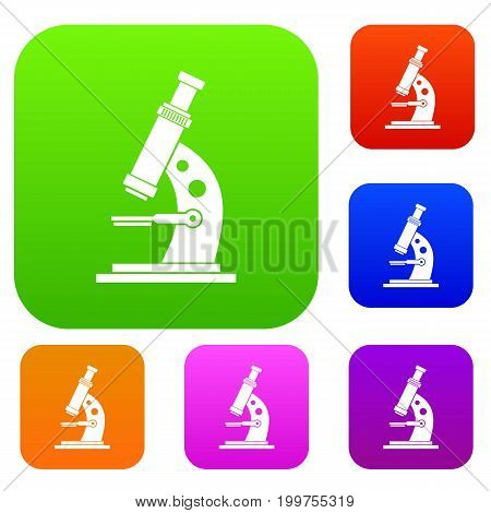 Microscope set icon in different colors isolated vector illustration. Premium collection