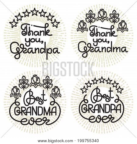 Grandma and grandpa handwritten lettering. Grandparents day emblems, logo set. Vector illustration. Design for grandparents day greeting card, flyer, poster, banner or t-shirt.