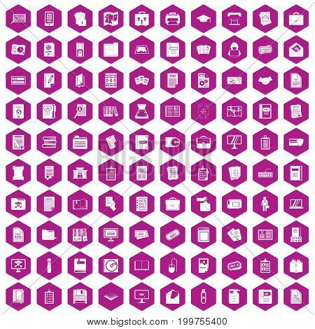 100 document icons set in violet hexagon isolated vector illustration