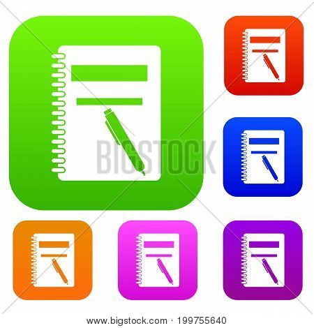 Closed spiral notebook and pen set icon in different colors isolated vector illustration. Premium collection
