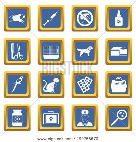 Veterinary icons set in blue color isolated vector illustration for web and any design