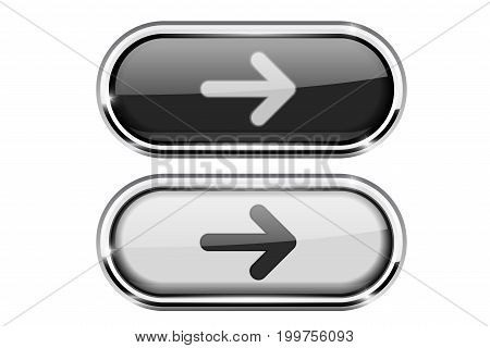 Oval buttons with arrow. Black and white icons with metal frame. Vector 3d illustration isolated on white background