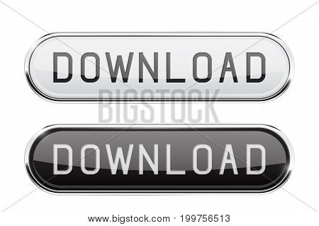 Download glass button. Oval black and white buttons with chrome frame. Vector 3d illustration isolated on white background