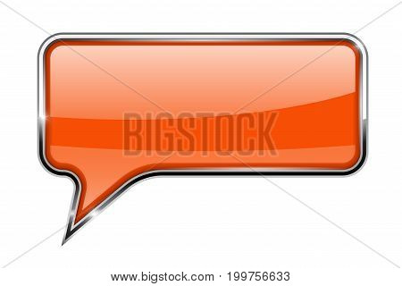 Orange speech bubble. Rectangular 3d icon with chrome frame. Vector illustration isolated on white background