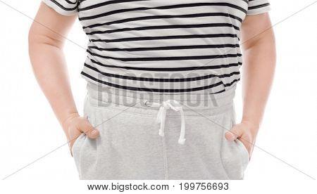 Overweight man on white background. Diet concept