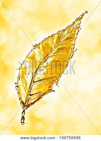 Leaf made of water splash gold color. 3d rendering