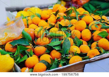 Fresh tangerine at market